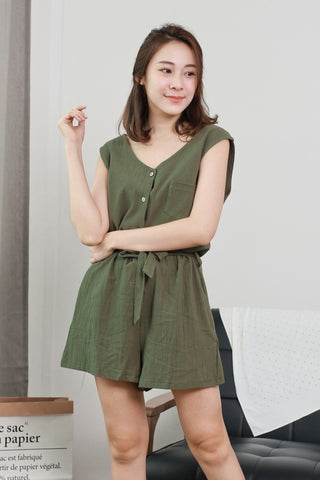 BUTTON-UP SLEEVELESS ROMPER (OLIVE)