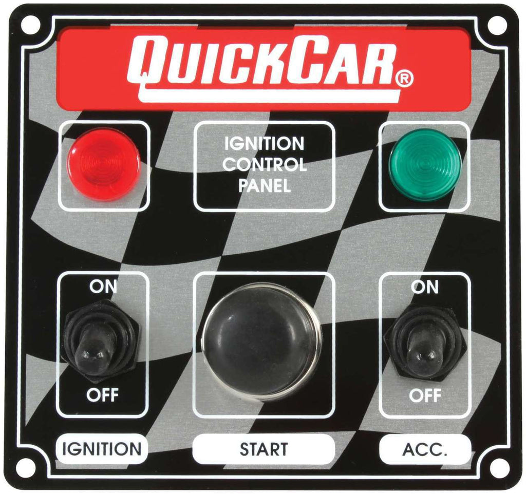 Quick Car Ignition Control Panel With Single Accessory Switch ( checker flag or black)