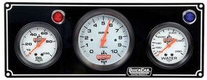"Quickcar 2 Gauge Panel with 3 3/8"" Tachometer. (Checker flag or black)"