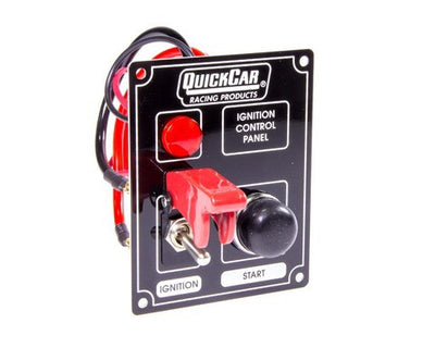 Quickcar Ignition control panel and starter button with light and flip switch over (also available in black)