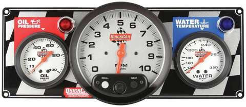 "Quickcar 2 Gauge Panel with 5"" Tachometer (checker flag or black)"