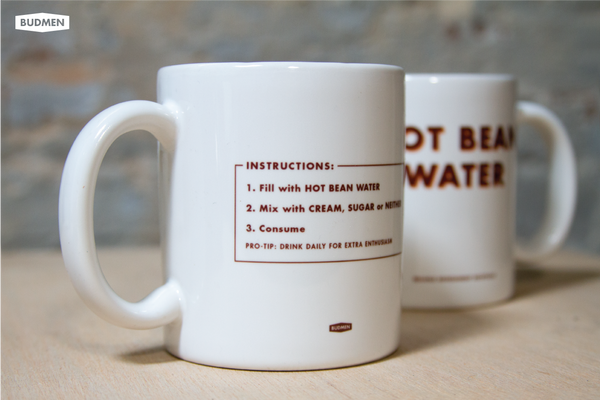 Font and back of Hot Bean Water Mugs