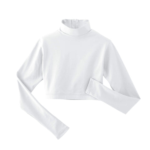 Spirit Stretch Mock Neck Midriff - White