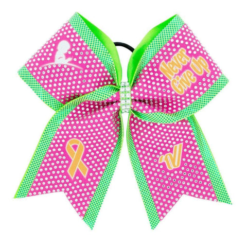 "St. Jude ""Never Give Up"" Rhinestone Bow V14SUSBW02"