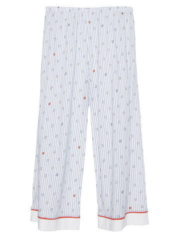 Isabelle PJ Pant - Infinity Floral/Stripe White