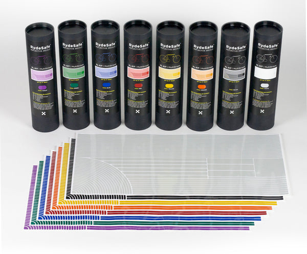 RydeSafe Reflective Stickers XL Multi Stripes Kits - available in 8 colors