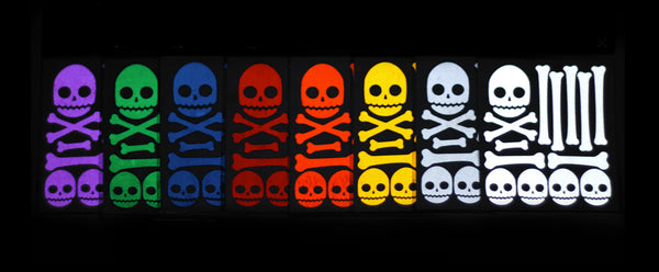 RydeSafe Reflective Stickers Skull and Bones available in 8 colors