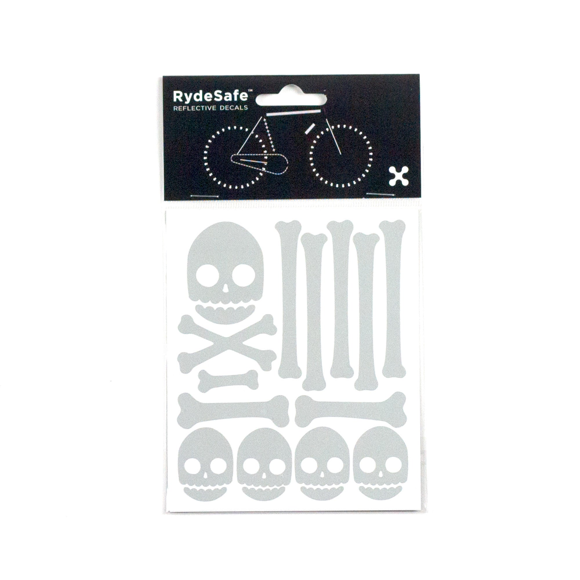 Skull and Bones Reflective Stickers for Bike (white)