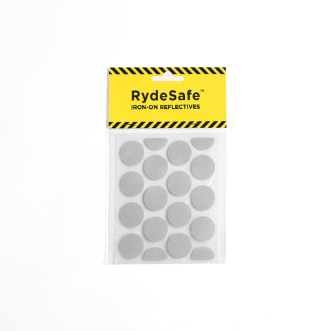 "RydeSafe Iron-On Reflectives - SMALL - 1"" Diameter Dots - Made with 3M  Heat-Applied Transfer Tape"