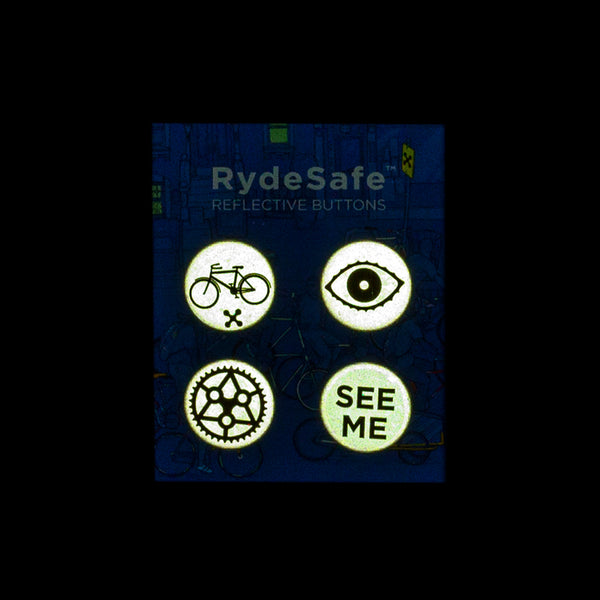 RydeSafe Reflective Buttons Kits - Cycling Theme (4 PACK)
