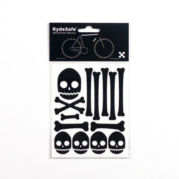 Skull and Bones Reflective Stickers for Bike Black)