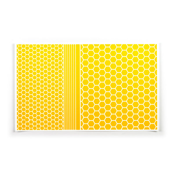 RydeSafe Reflective Hexagon Stickers XL kit - yellow