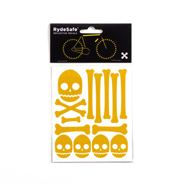 Skull and Bones Reflective Stickers for Bike (Yellow)