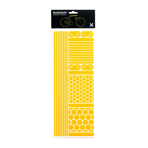 RydeSafe Reflective multi shape stickers yellow for bike helmet motocycle