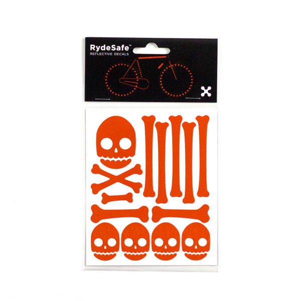 Skull and Bones Reflective Stickers for Bike (orange)
