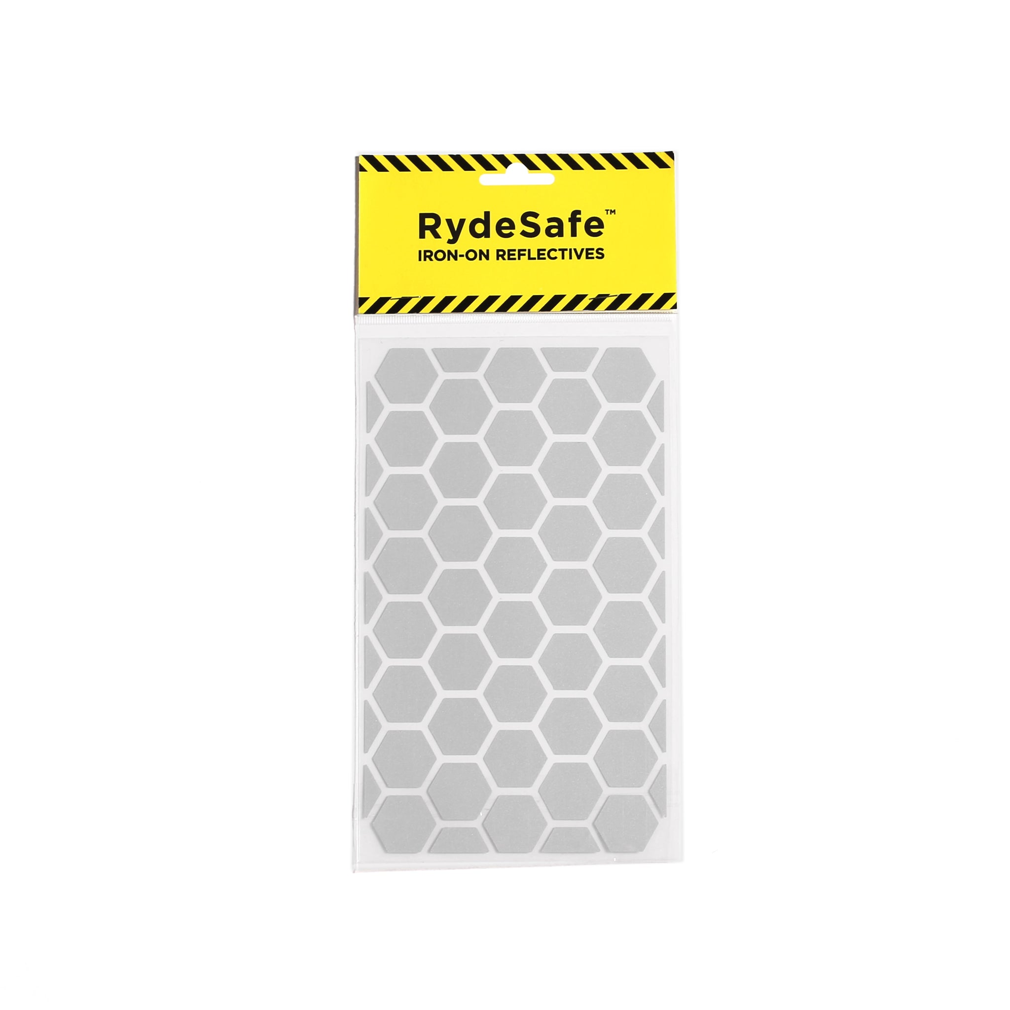 RydeSafe Reflective Iron-On Decals, hexagons, made with 3m reflective tape