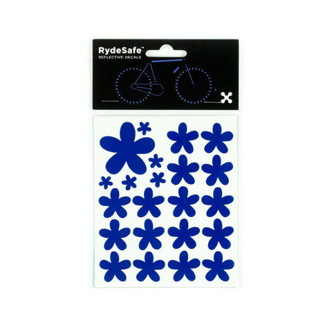 RydeSafe Reflective Decals - Flowers Kit (blue)
