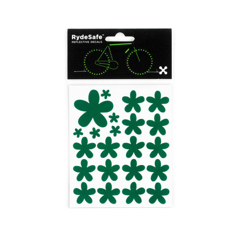 RydeSafe Reflective Decals - Flowers Kit (green)