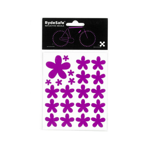 RydeSafe Reflective Decals - Flowers Kit (violet)