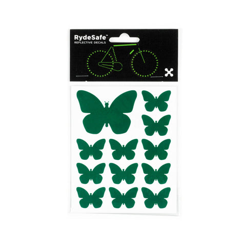 RydeSafe Reflective Decals - Butterflies Kit (green)