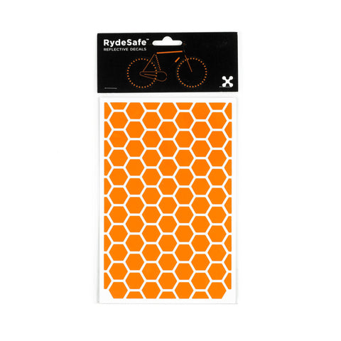 RydeSafe Reflective Decals - Hexagon Kit - Large (orange)