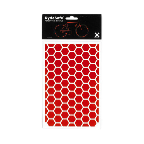 RydeSafe Reflective Decals - Hexagon Kit - Large (red)