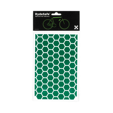 RydeSafe Reflective Decals - Hexagon Kit - Large (green)