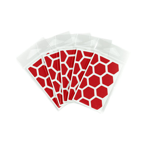 RydeSafe Reflective Decals - Hexagon Mini 5 Pack (red)