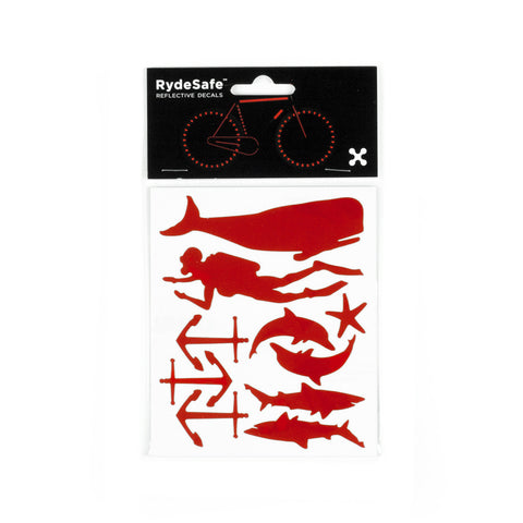 RydeSafe Reflective Decals - Nautical Kit (red)