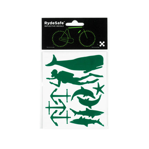 RydeSafe Reflective Decals - Nautical Kit (green)