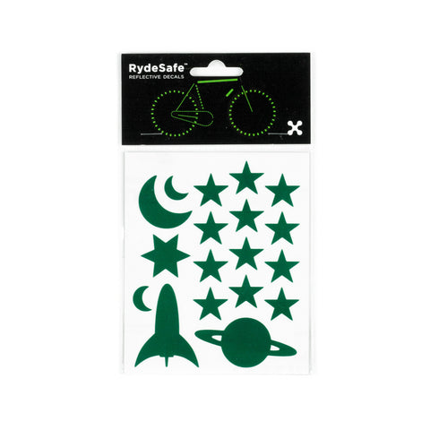 RydeSafe Reflective Decals - Outer Space Kit (green)