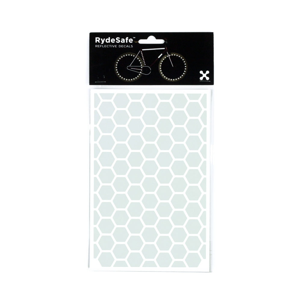 RydeSafe Reflective Hexagon Stickers Hexagon Kit - Large (white)