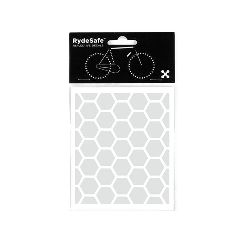 RydeSafe Reflective Stickers for bike - Hexagon Kit - Small (white)