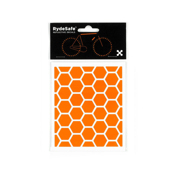 RydeSafe Reflective Decals - Hexagon Kit - Small (orange)