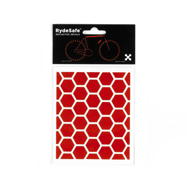 RydeSafe Reflective Decals - Hexagon Kit - Small (red)