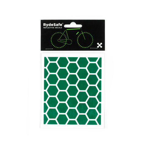 RydeSafe Reflective Decals - Hexagon Kit - Small (green)
