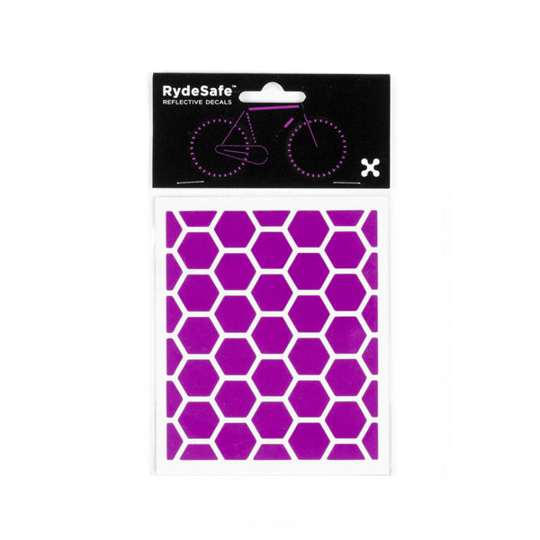 RydeSafe Reflective Decals - Hexagon Kit - Small (violet)