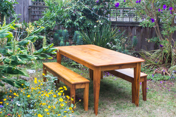 "Rustic 6"" wooden benches"