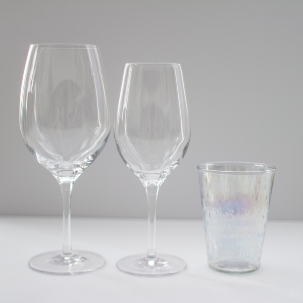 Pearlescent Water Glass Rental