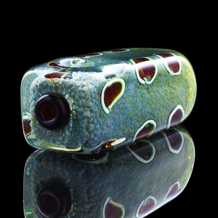"4"" Inside-Out Multicolor Frit Cube Pipe with Fuming, Cane, and Color Work"
