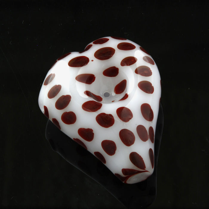 White Heart-Shaped Hand Pipe with color Polka Dot Accents