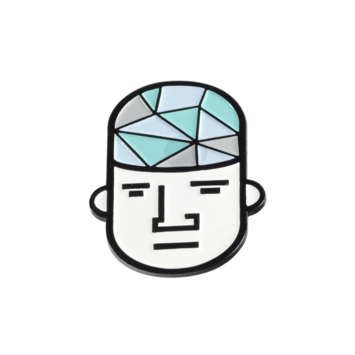 """Glass Guy"" Enamel Hat Pin"