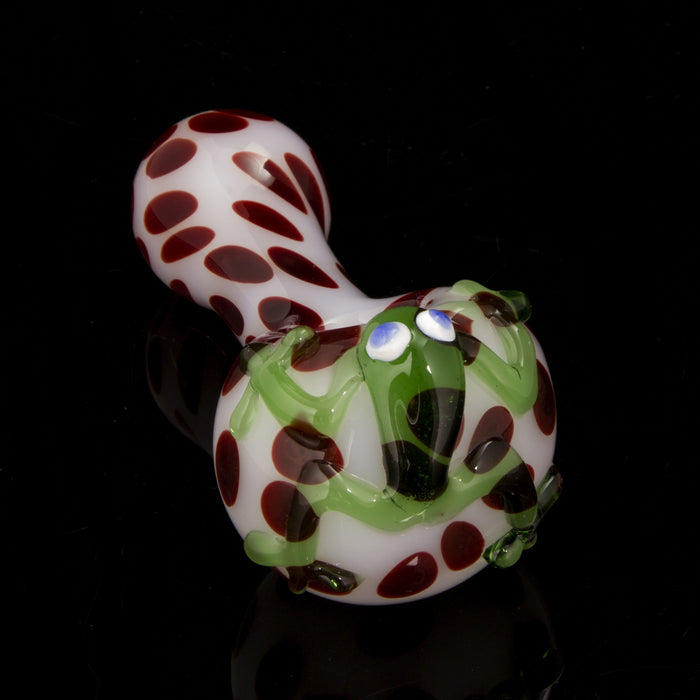 White Tubing with Red Dots and Frog Figurine Worked Spoon Pipe