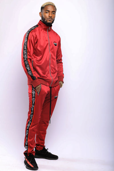BURGUNDY PUSHAS SZN TRACKSUIT SET