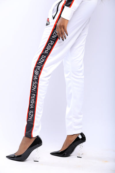 WOMEN'S WHITE PUSHAS SZN TRACKSUIT SET