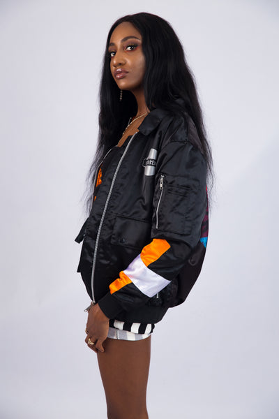 WOMEN'S BLACK SATIN COACH JACKET