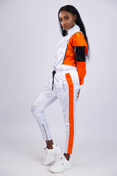 WOMEN'S WHITE SATIN PANELED TRACKSUIT