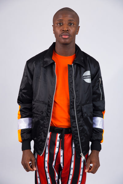 MEN'S BLACK SATIN COACH JACKET