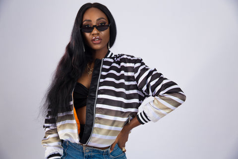 WOMEN'S 3M STRIPED SATIN BOMBER JACKET