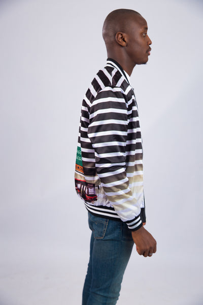 MEN'S 3M STRIPED SATIN BOMBER JACKET